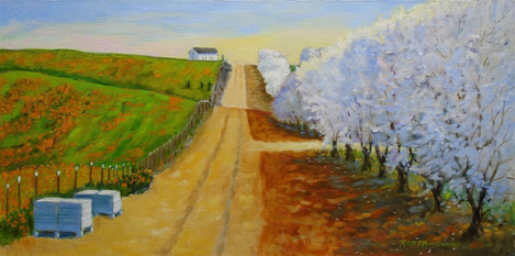 """Rhett Owings (Turlock), Farm Hourse Road, 2020 Oil paint, 12"""" x 24"""" $750"""