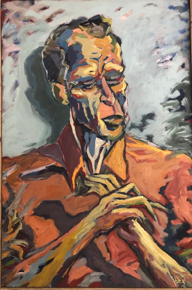 "Hudson Berdino (Turlock) The Liar, 2019 Oil on canvas 24"" x 36"" $1,000"