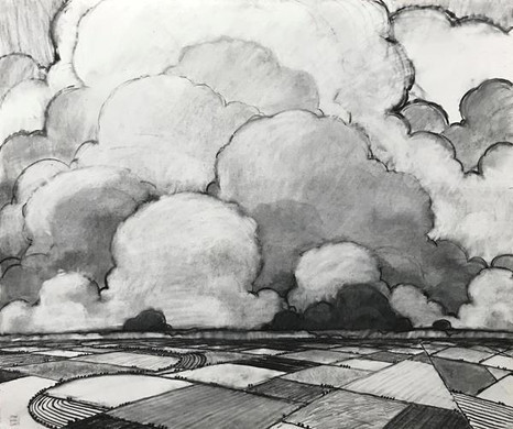 """John Claes (Turlock) Spring Weather, 2020 Honorable Mention Charcoal and graphite on paper 42.5"""" x 36"""" $4,000"""