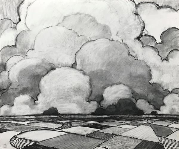 "John Claes (Turlock) Spring Weather, 2020 Honorable Mention Charcoal and graphite on paper 42.5"" x 36"" $4,000"