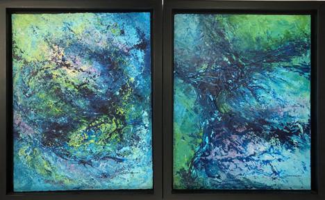 """Henrietta Sparkman (Modesto) Vortex & Underwater oil, 16"""" x 26"""" $600"""