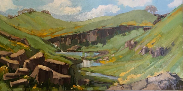 "Linda Abbott (Merced) Spring in the Sierra Foothills, 2019 Oil on panel 6"" x 12"" $375"