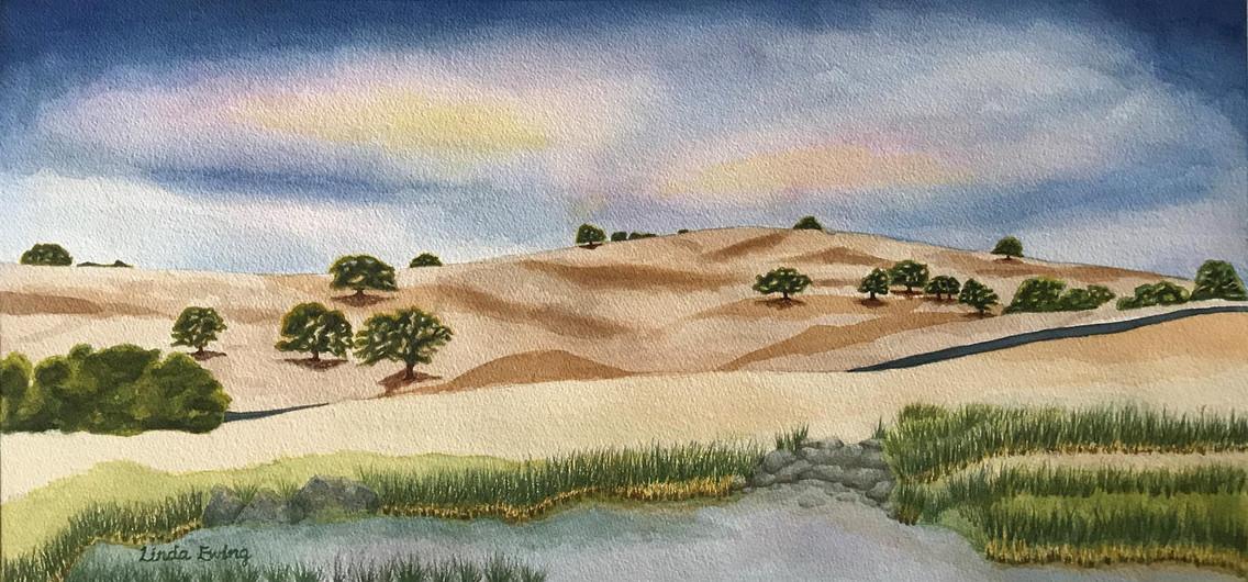 "Linda Ewing (Modesto), California Sierra Foothills, 2018 Watercolor, 23.25"" x 36.5"" NFS"