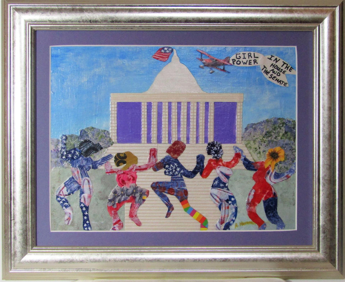 "Angela Harmon (Murphys) Girl Power in The House and The Senate collage, 13.5"" x 17"" x 1"" $225"