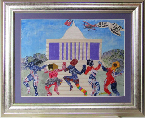 """Angela Harmon (Murphys) Girl Power in The House and The Senate collage, 13.5"""" x 17"""" x 1"""" $225"""