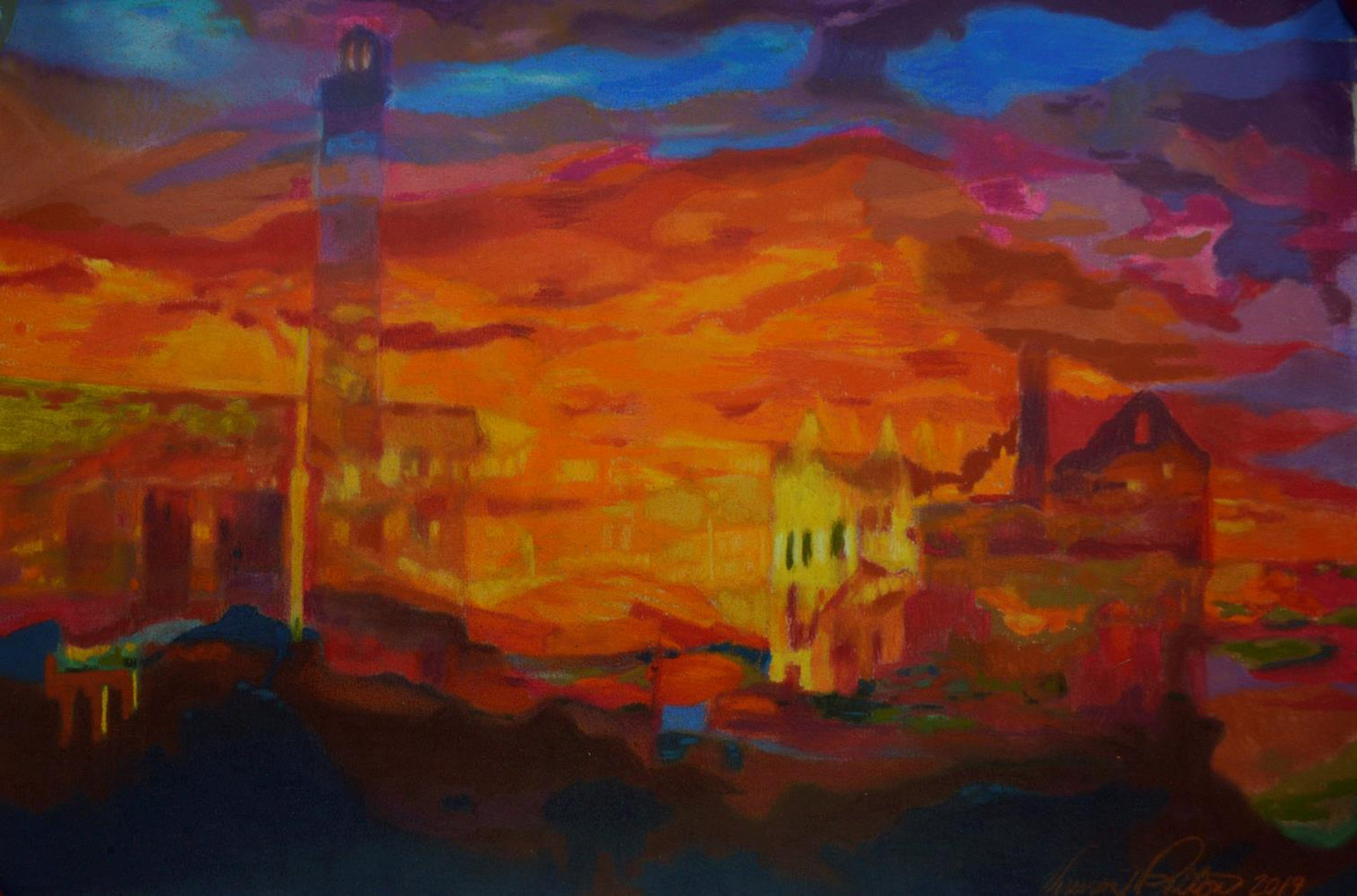 "Vivian Patton (Groveland) Alcatraz Sunset pastel, 14"" x 31.5"" $250"