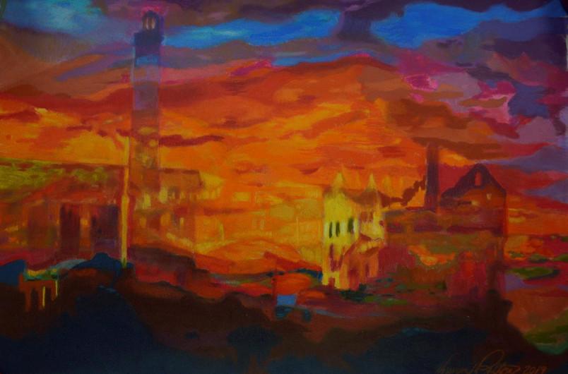 "Vivian Patton (Groveland) Alcatraz Sunset pastel, 14"" x 31.5"" $250"
