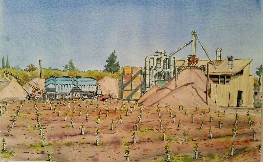 """Mark Selby (Los Osos), Working Huller, 2019 Watercolor, 14"""" x 22"""" $350"""