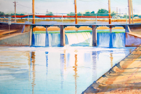 """Virginia White (Modesto), Canal Waters in the Valley, 2018 Watercolor, 22"""" x 28"""" $375"""