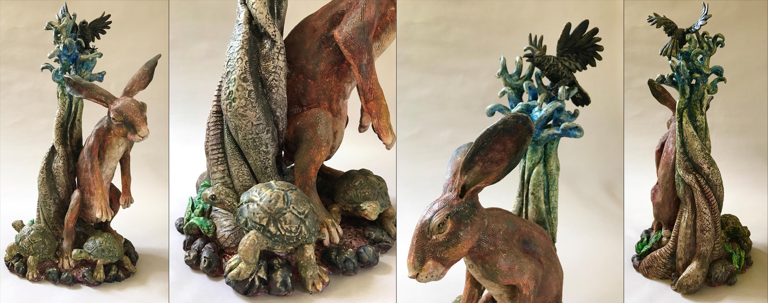 "Amy Morgan (Clovis) A Novel Fable: Hare Ecounters a Fork in the Roadrace ceramic and acrylic, 20"" x 11"" x 10"" $500"