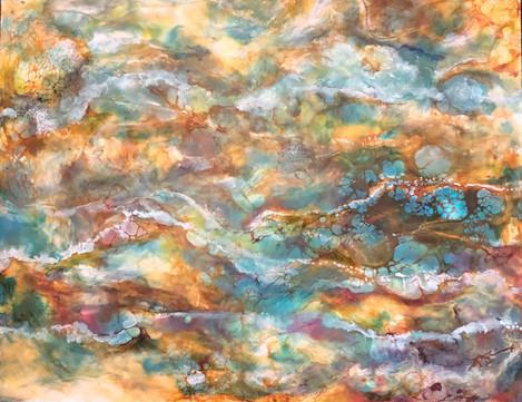"Carolyn Reed (Merced), Foord Grows Where Water Flows, 2019 Encaustic, oil, and ink, 16"" x 20"" $350"