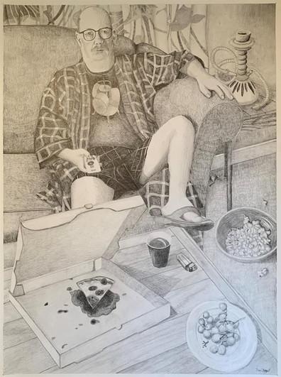"""Don Hall (Turlock) Dude Sheltering in Place pencil on paper, 30"""" x 23"""" x 1"""" $300"""