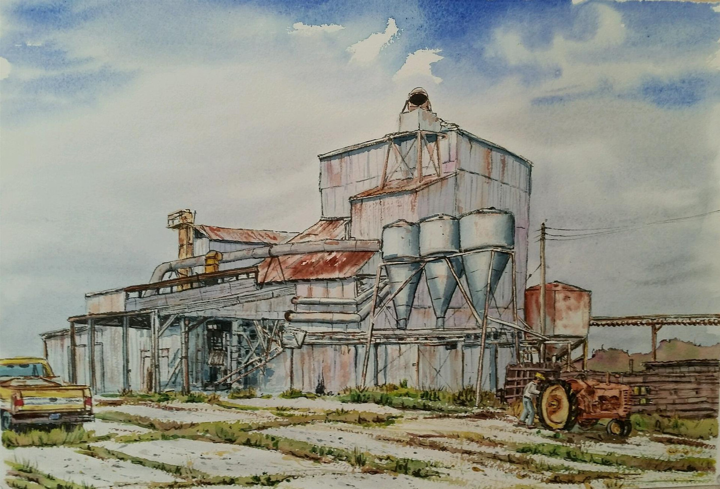 "Mark Selby (Los Osos), Retired Hullers, 2019 Watercolor, 14.75"" x 21.75"" $350"