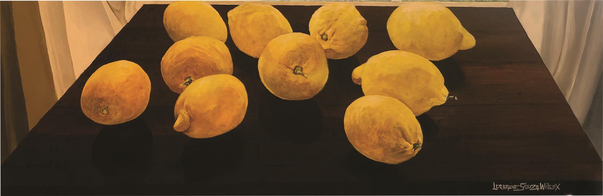 "Lorraine Wilcox (Turlock), Central Valley Lemons, 2020 Acrylic, 12"" x 36"" NFS"