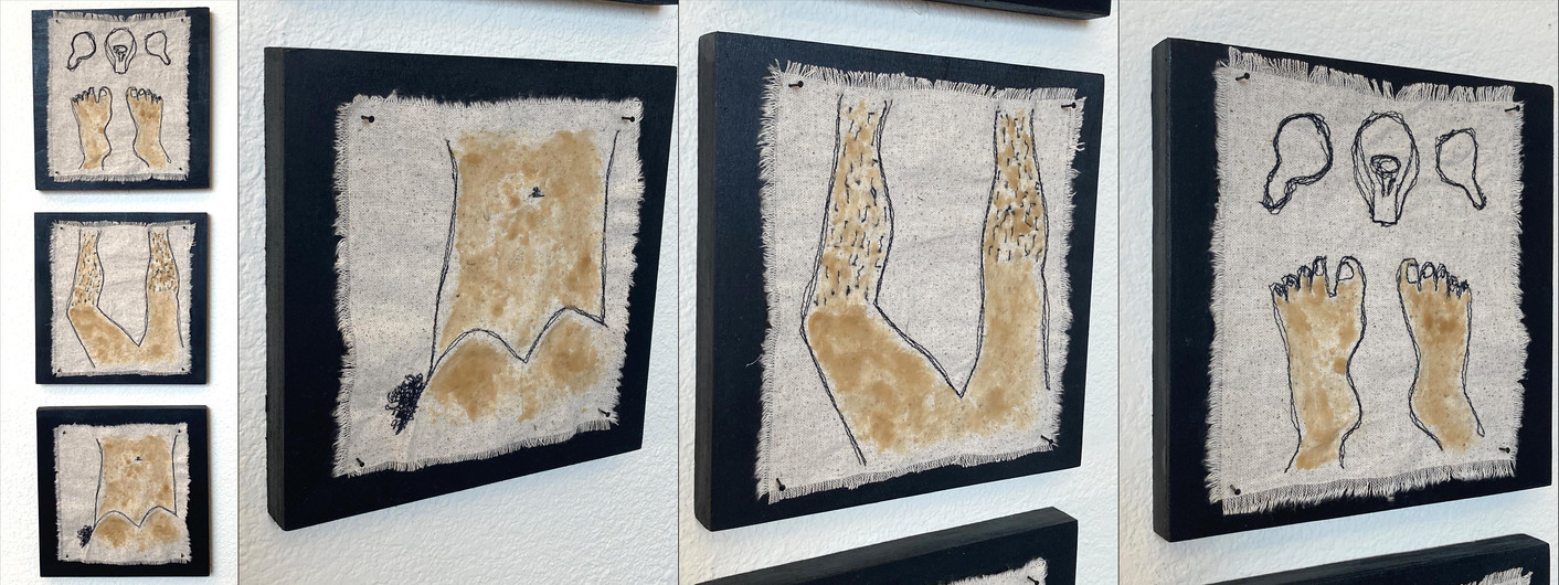 """Michelle Park (Turlock) Bath Time embroidered cloth with bees wax on wood, 22"""" x 8"""" x 1.5"""" $180"""