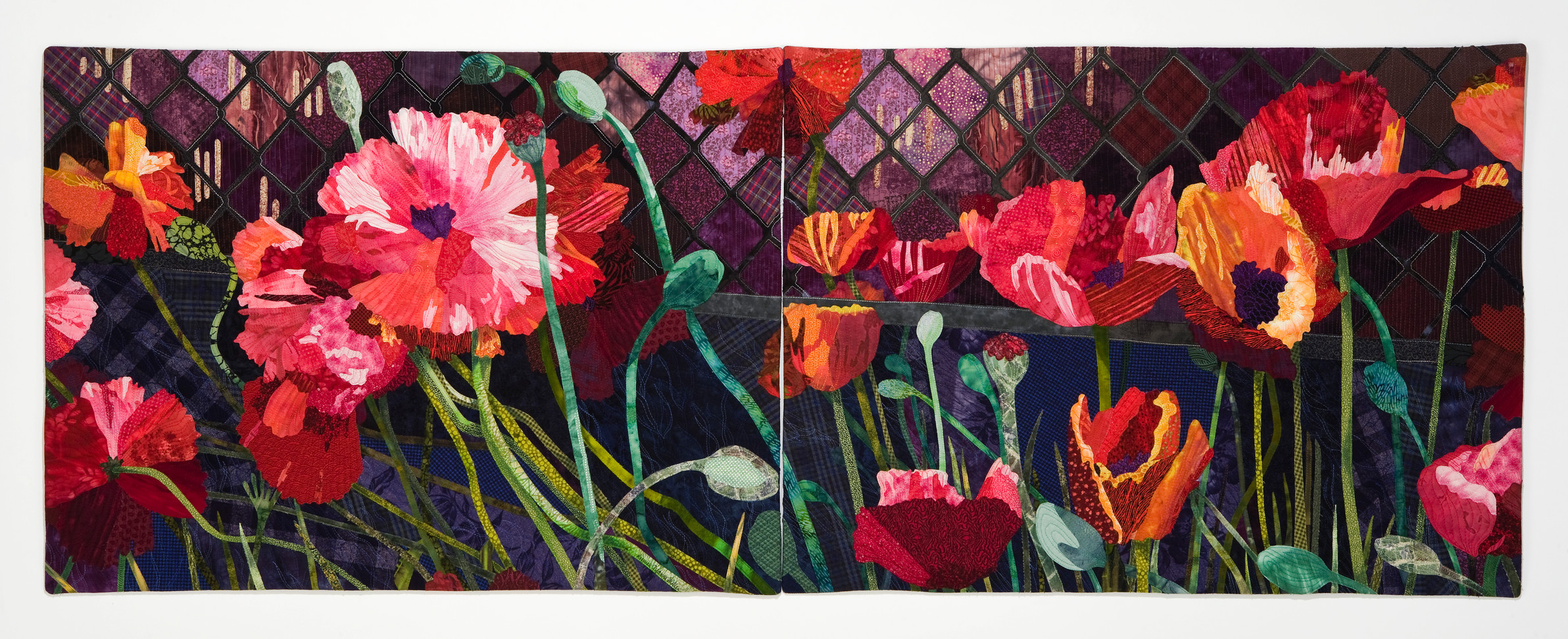 Roadside Poppies (diptych) textiles $2,370