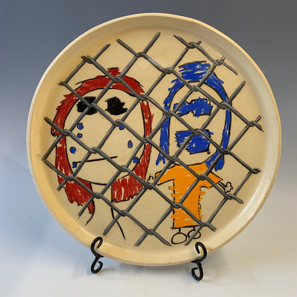 "Don Hall (Turlock) Children in Cages 1 ceramic, 16"" x 16"" x 1"" $150"