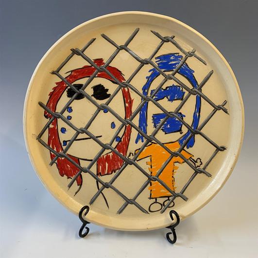 "Don Hall (Turlock) Children in Cages 1 ceramic, 16"" x 16"" x 1"" $150"