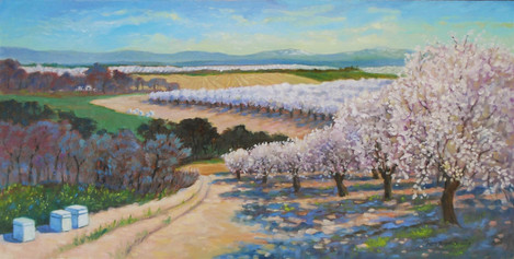 """Rhett Owings (Turlock), Acres and Acres of Blooming Blossoms, 2020 Oil paint, 15"""" x 30"""" $2,400"""