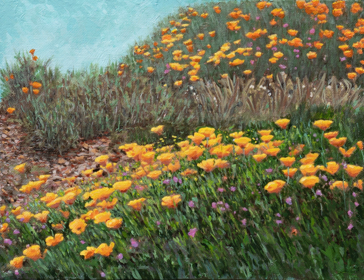 "Henrietta Sparkman (Modesto), Field of Imagination, 2020 Acrylic, 9"" x 11"" $400"