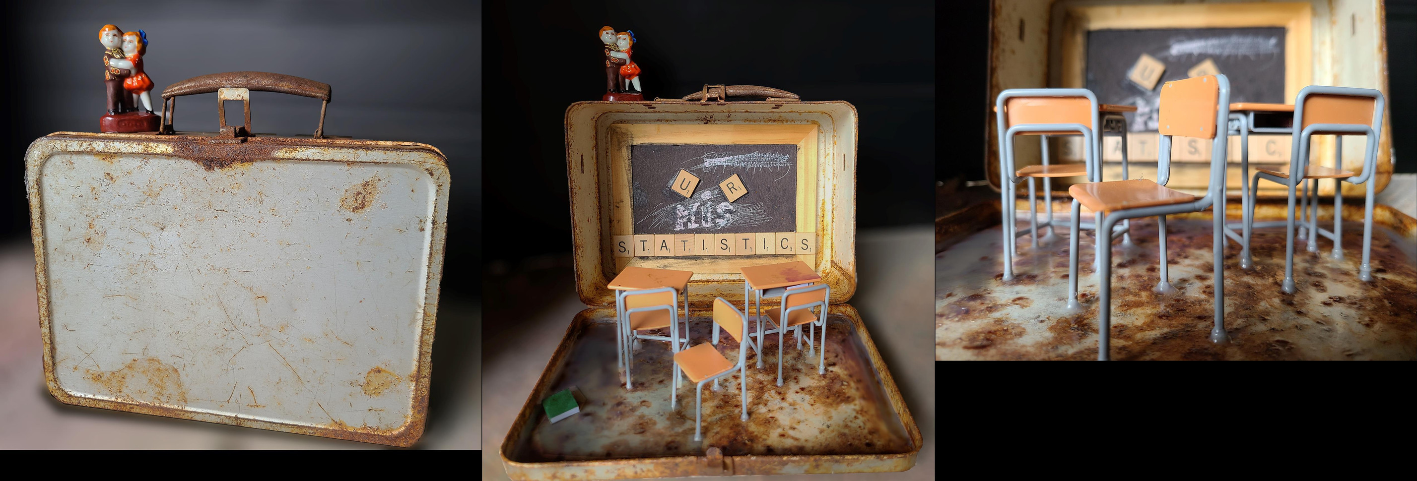 "Liese Ricketts (Homewood, IL) The Covid Classroom assemblage, found objects, 8.25"" x 8.25"" x 9.2"" NFS"