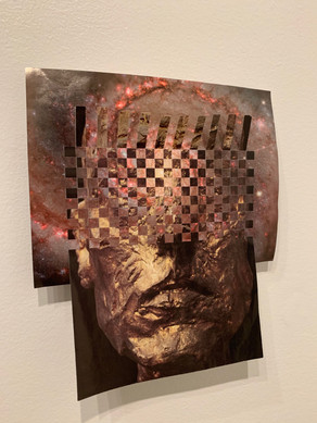 "David Dolan (Modesto) veil, 2020 (view 2) Award of Merit Woven paper, found images 10"" x 11"" NFS"