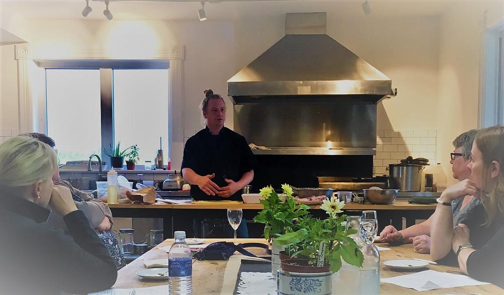 Chef Mark Beacock teaching a cooking class at Furnace Falls Farm
