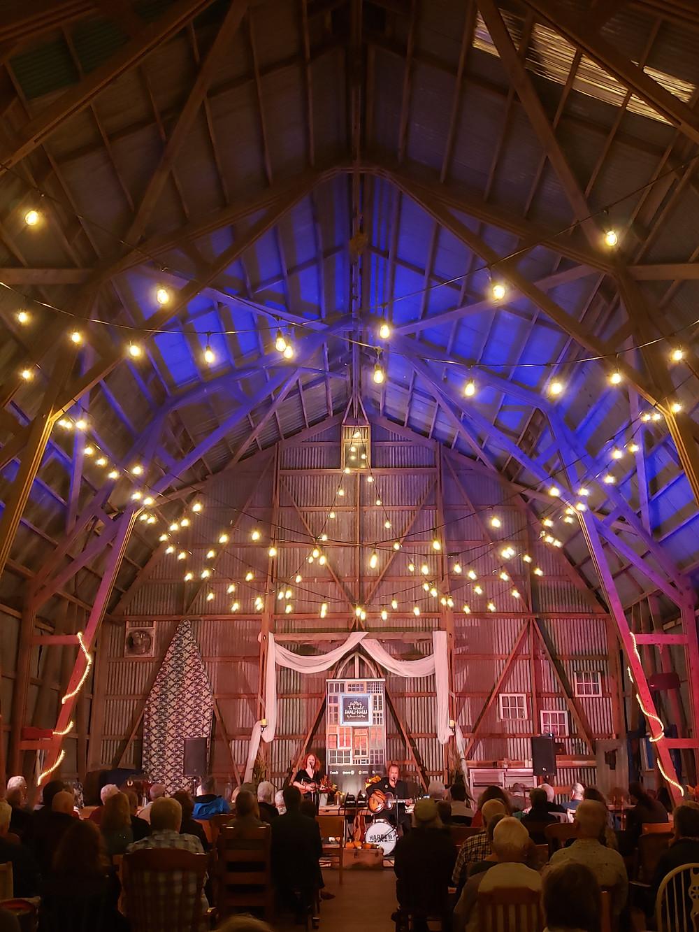 Inside Furnace Falls Farm Barn with Harrow Fair