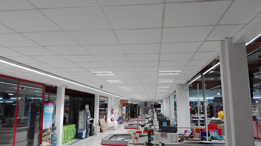 Remplacement dalles de faux plafonds + relamping dalles LED en collaboration avec notre partenaire Delemme électricité.
