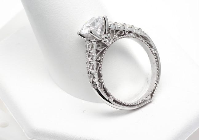 18k white gold Verragio semi-mount with .50 total carat weight of round brilliant diamonds