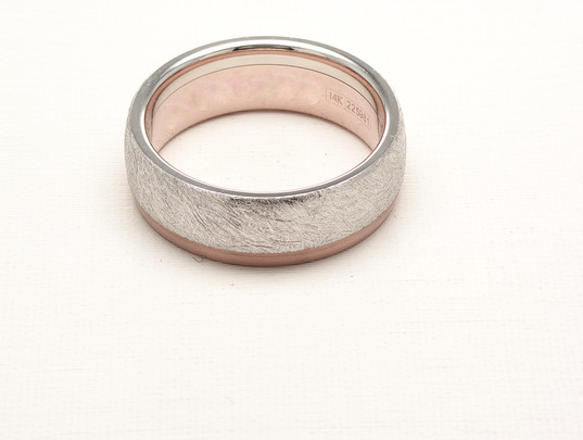 Etched Two-Tone Gent's Ring