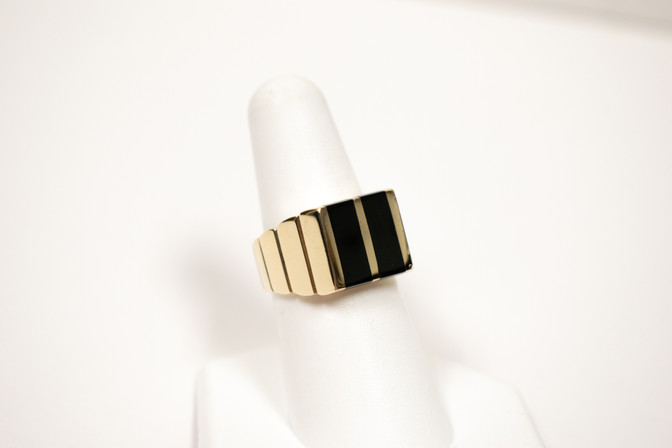 Black Jade and Gold Gent's Ring
