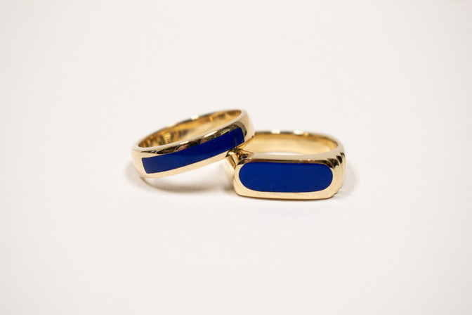 Lapis lazuli and 14k gold gent's rings