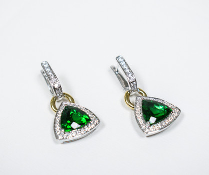 Chrome Tourmaline and Diamond Earrings