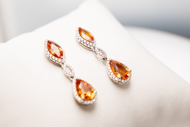Spessartite Garnet and Orange Sapphire Earrings