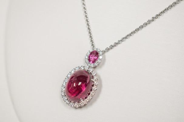 Rubellite Tourmaline and Pink Sapphire Diamond Necklace