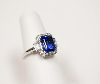 Blue Tanzanite and Diamond Ring
