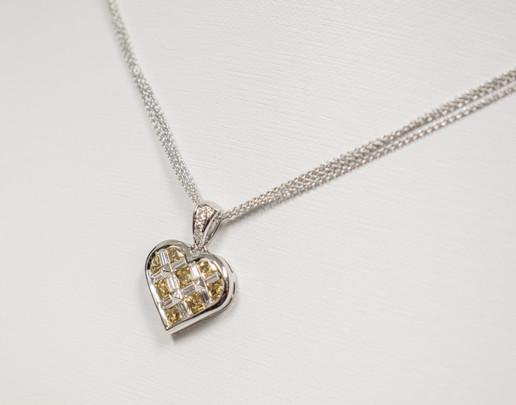 Yellow Sapphire and Diamond Heart Pendant