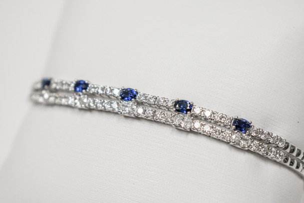Diamond and Sapphire Stackable Cuff Bracelets