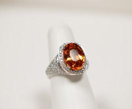Spessartite Garnet and Diamond Ring