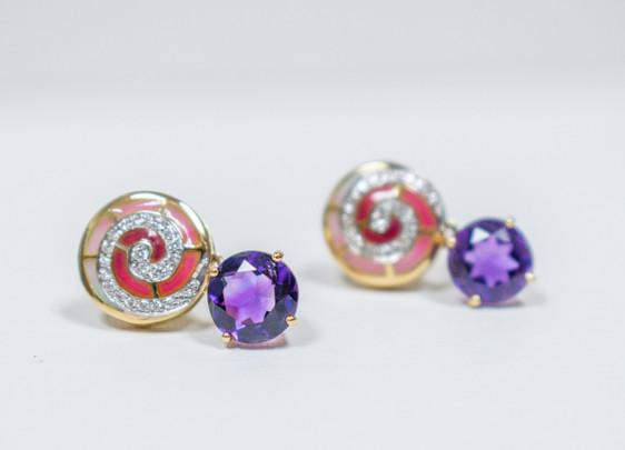 Amythest Shell Earrings
