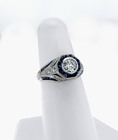 Ladies platinum vintage style semi-mount and sapphire ring. 1.03 carat toal weight round brilliant cut diamonds, .43 carat total weight sapphires