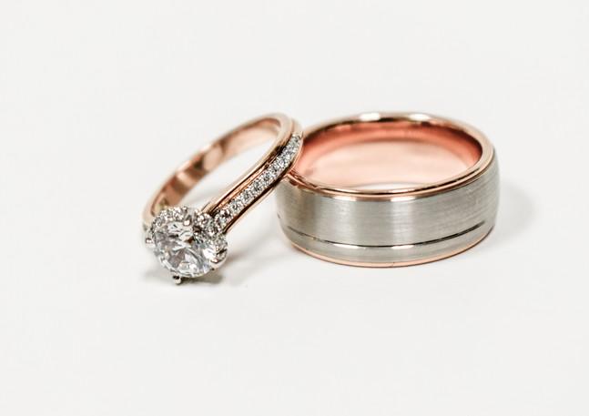 Matching rose gold rings