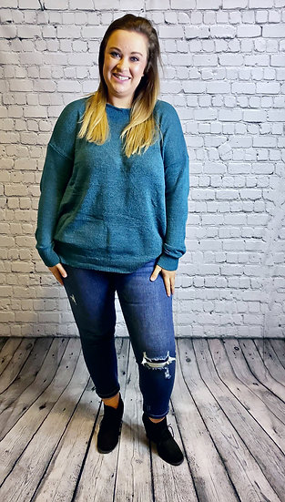 Solid Basic Slouchy Lightweight  Sweater