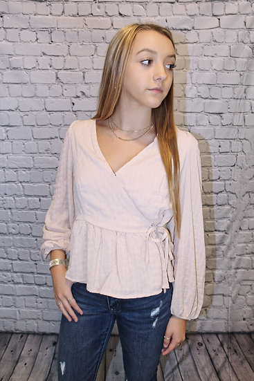 Wrap Front Long Sleeve Crepe Top