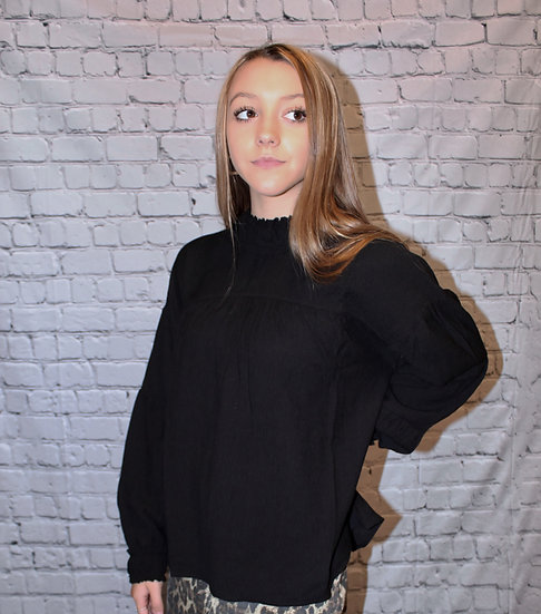 High Neck Ruched Long Sleeve Blouse