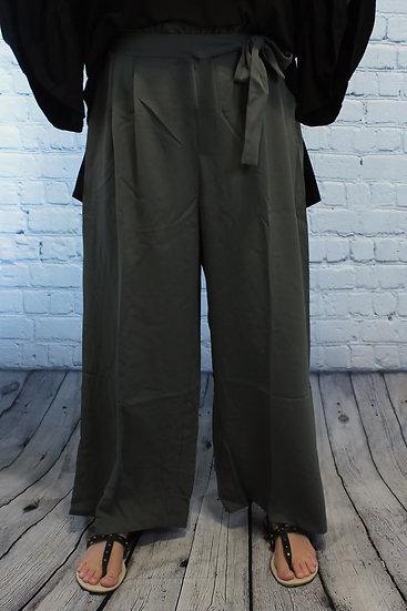 Solid Basic High Waist Crop Wide Leg Pants