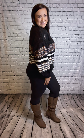 Mutli Color Block Knit Sweater