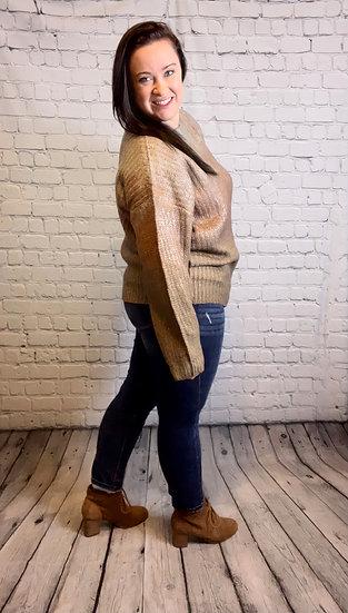 Plus Size - Multi Color Long Sleeve Sweater