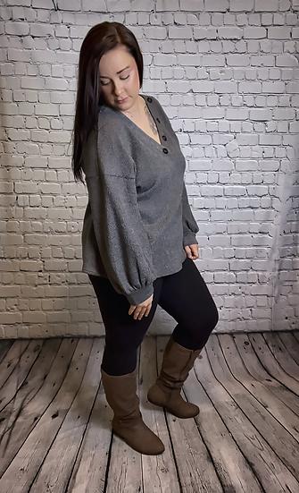 Plus Size - Grey Long Sleeve